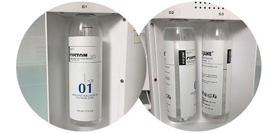 aqua peel machine 3 liquid bottles